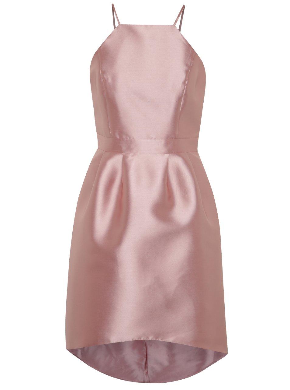 Světle růžové lesklé šaty na ramínka Miss Selfridge