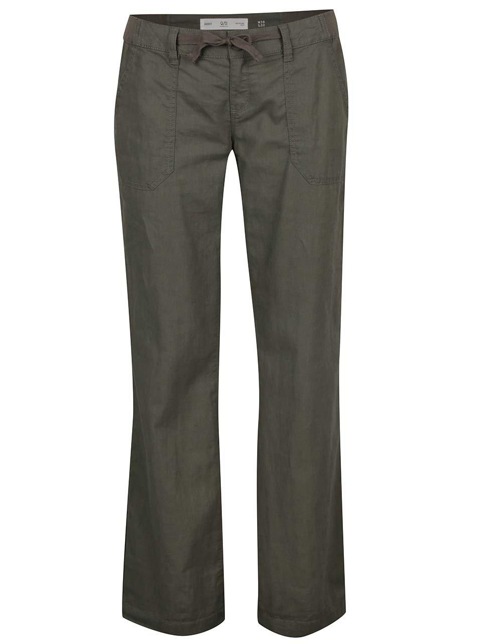 Khaki dámské volné lněné kalhoty s kapsami QS by s.Oliver