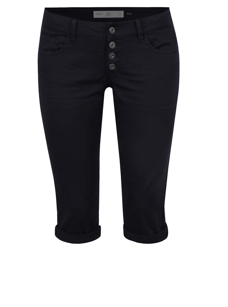 Tmavě modré dámské 3/4 slim fit kalhoty s nízkým pasem QS by s.Oliver