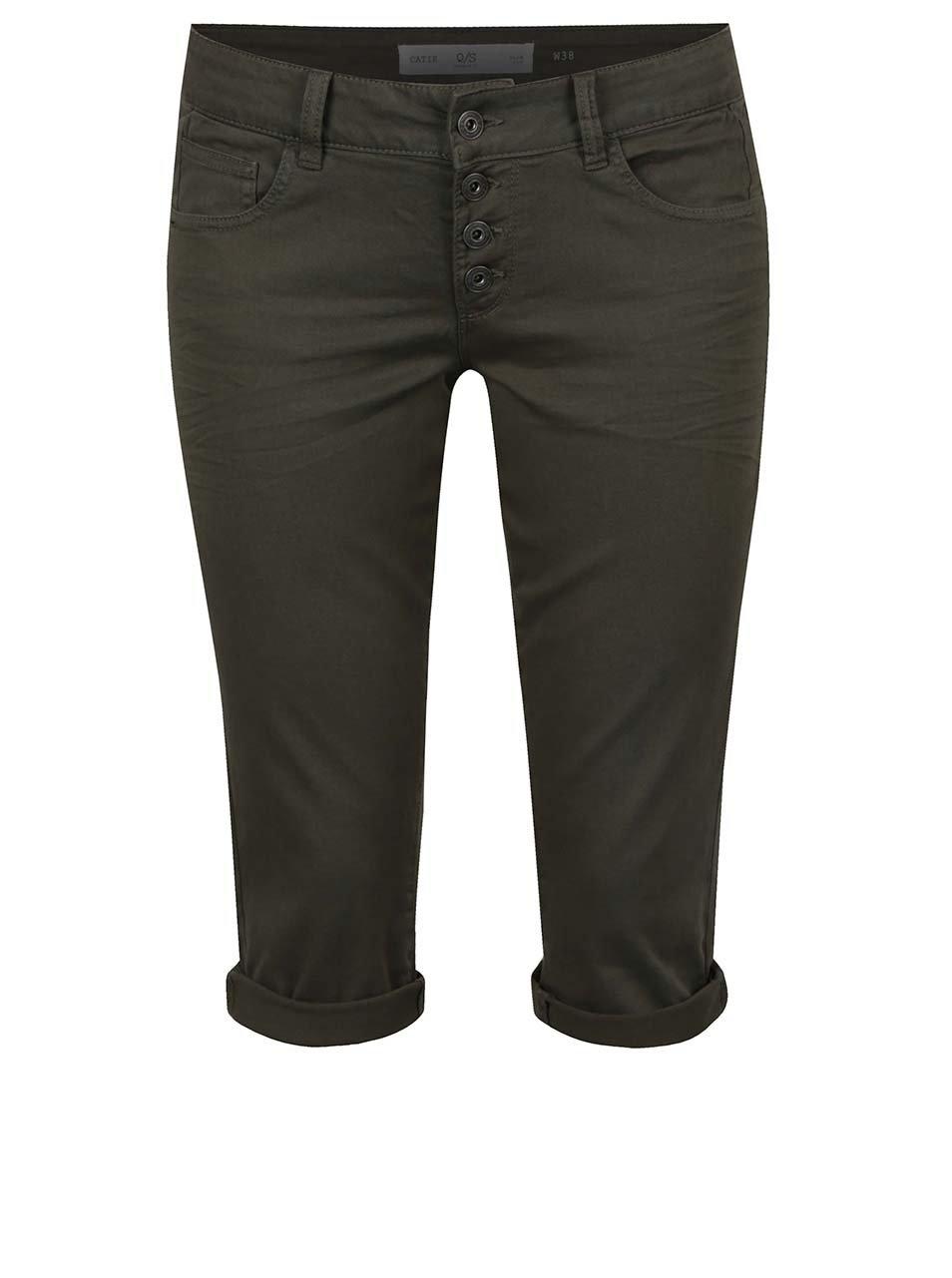Khaki dámské 3/4 slim fit kalhoty s nízkým pasem QS by s.Oliver