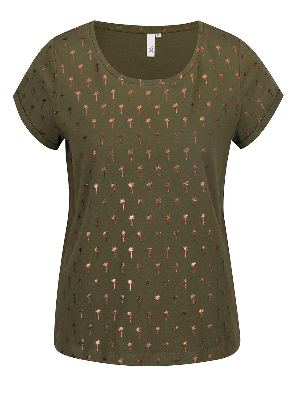 Khaki dámské tričko s potiskem palem v růžovozlaté barvě QS by s.Oliver