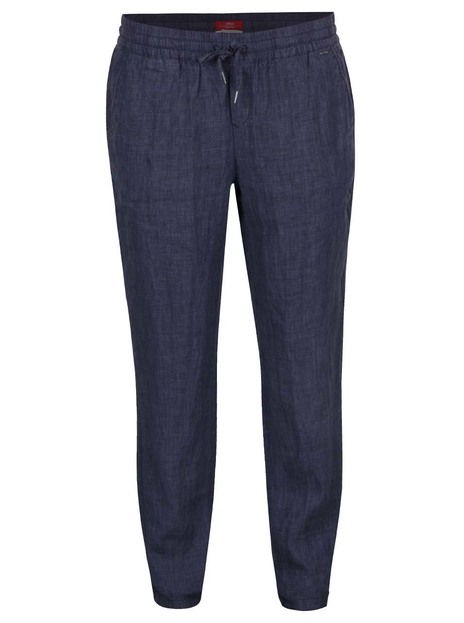 Tmavě modré dámské lněné kalhoty s.Oliver