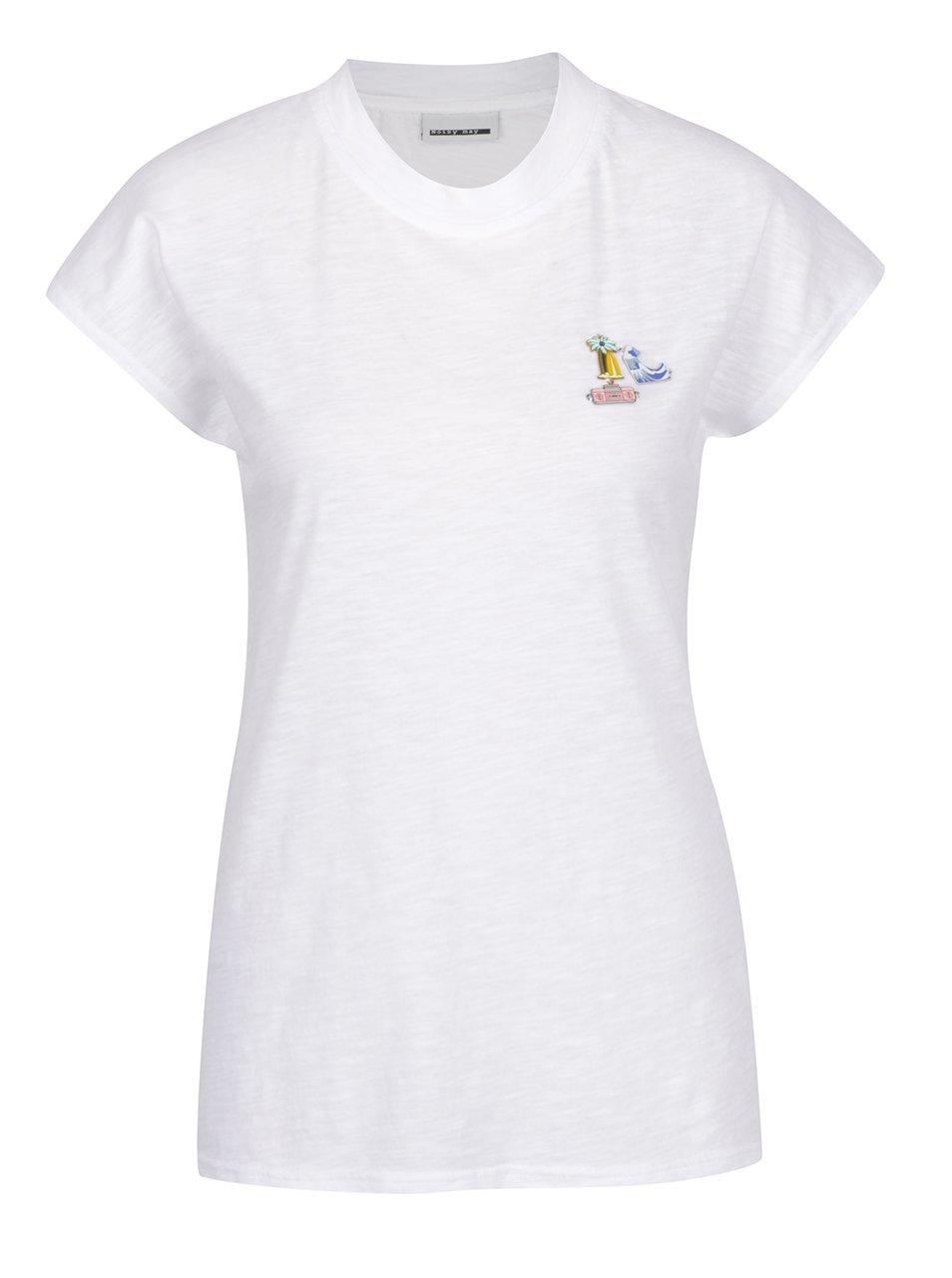 Bílé tričko s aplikací Noisy May Pins
