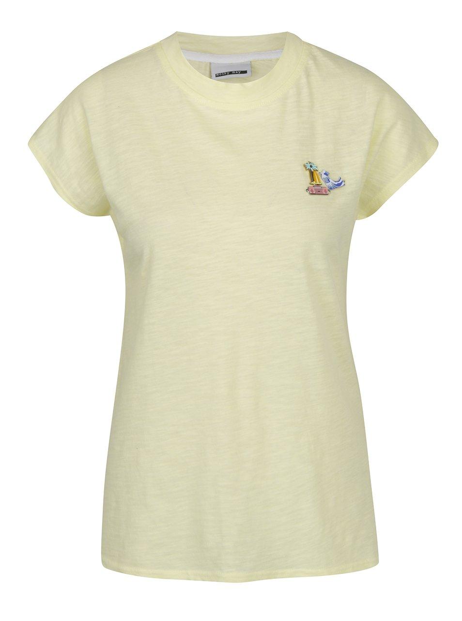 Žluté tričko s aplikací Noisy May Pins