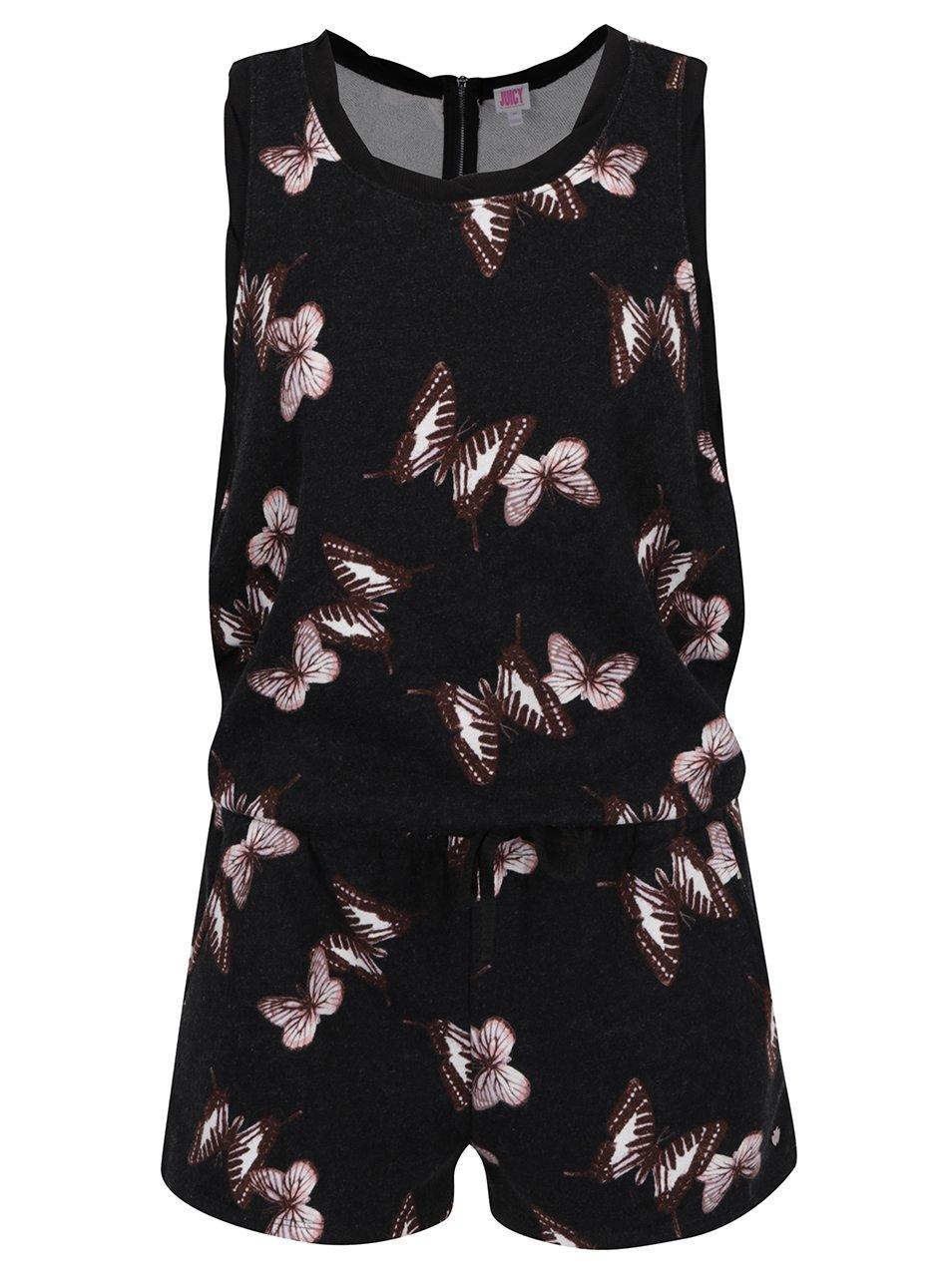Černý krátký overal s motivem motýlů Juicy Couture