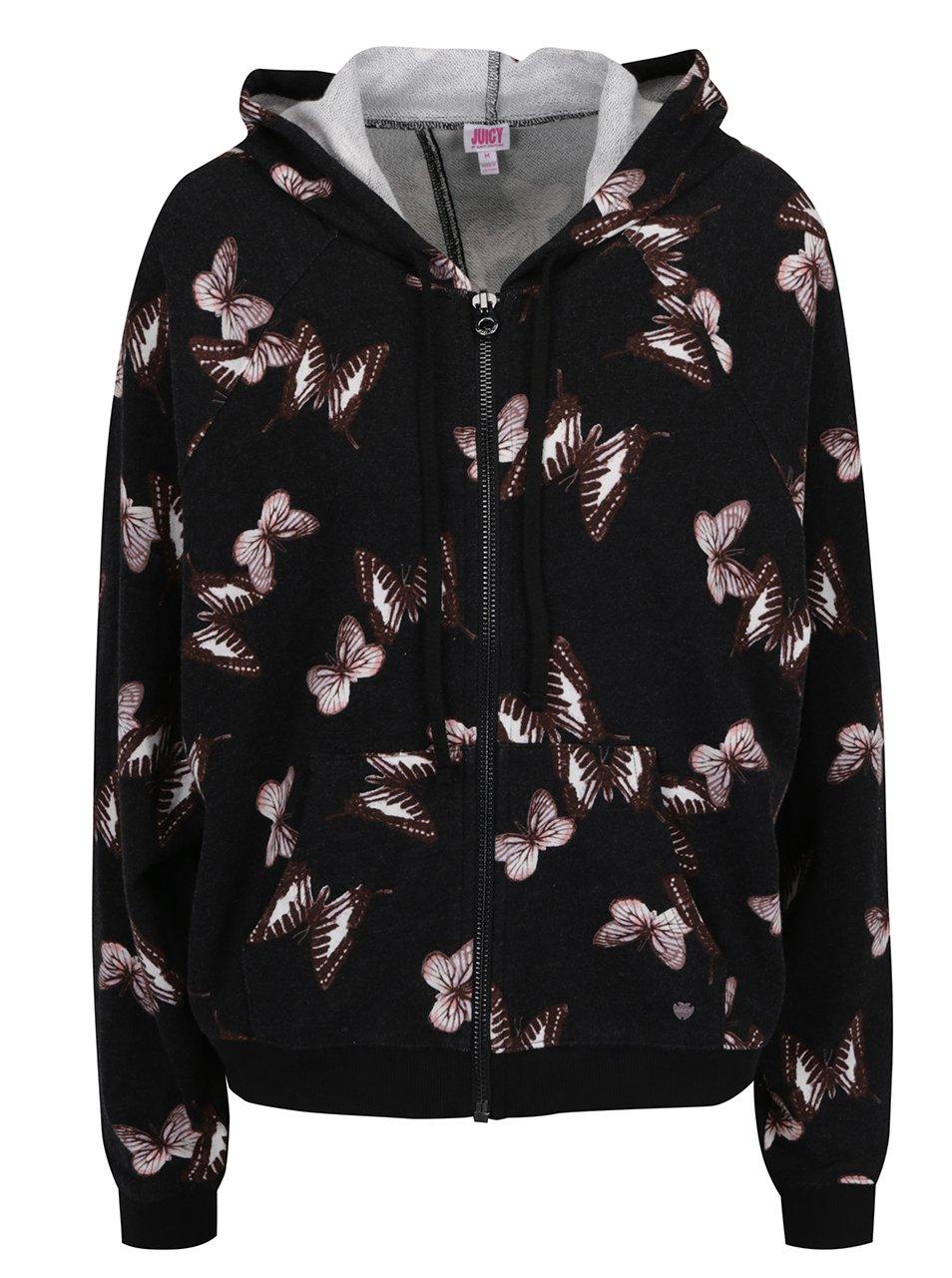 Černá mikina na zip s motivem motýlů a s vykrojeným zadním dílem Juicy Couture