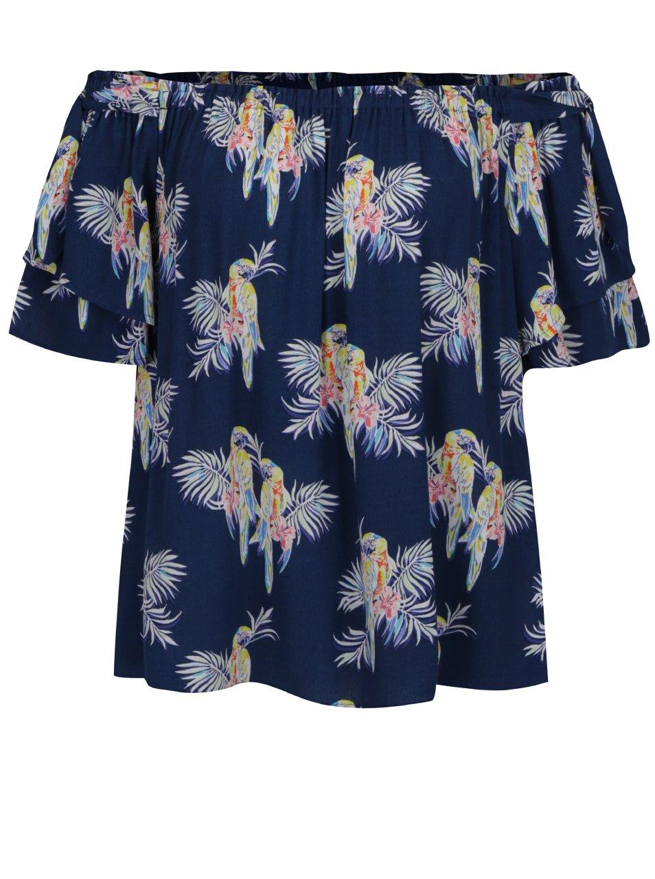 Tmavě modrá volná halenka s motivem papoušků a odhalenými rameny Juicy Couture