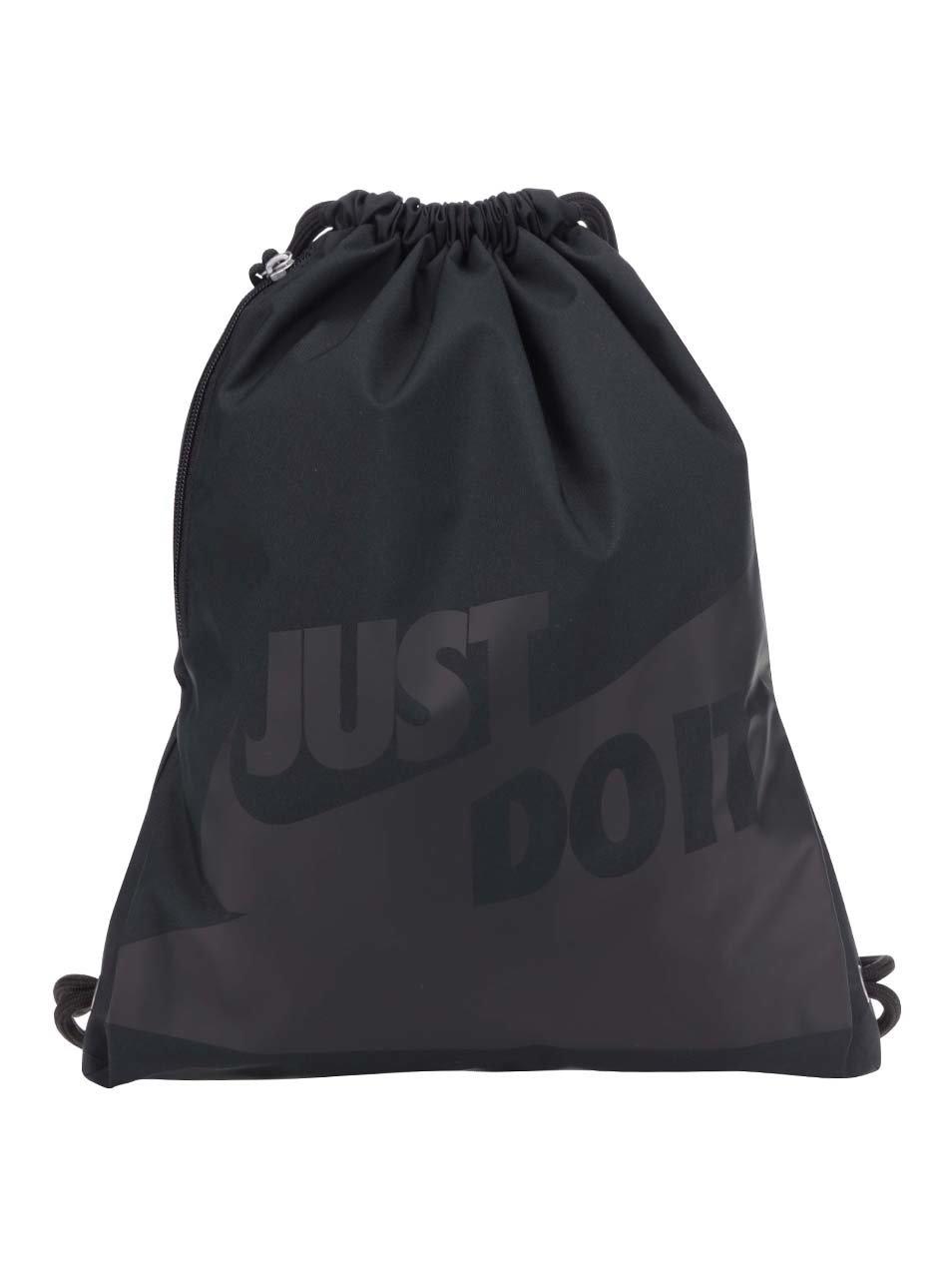 Černý unisex vak s potiskem a kapsou Nike