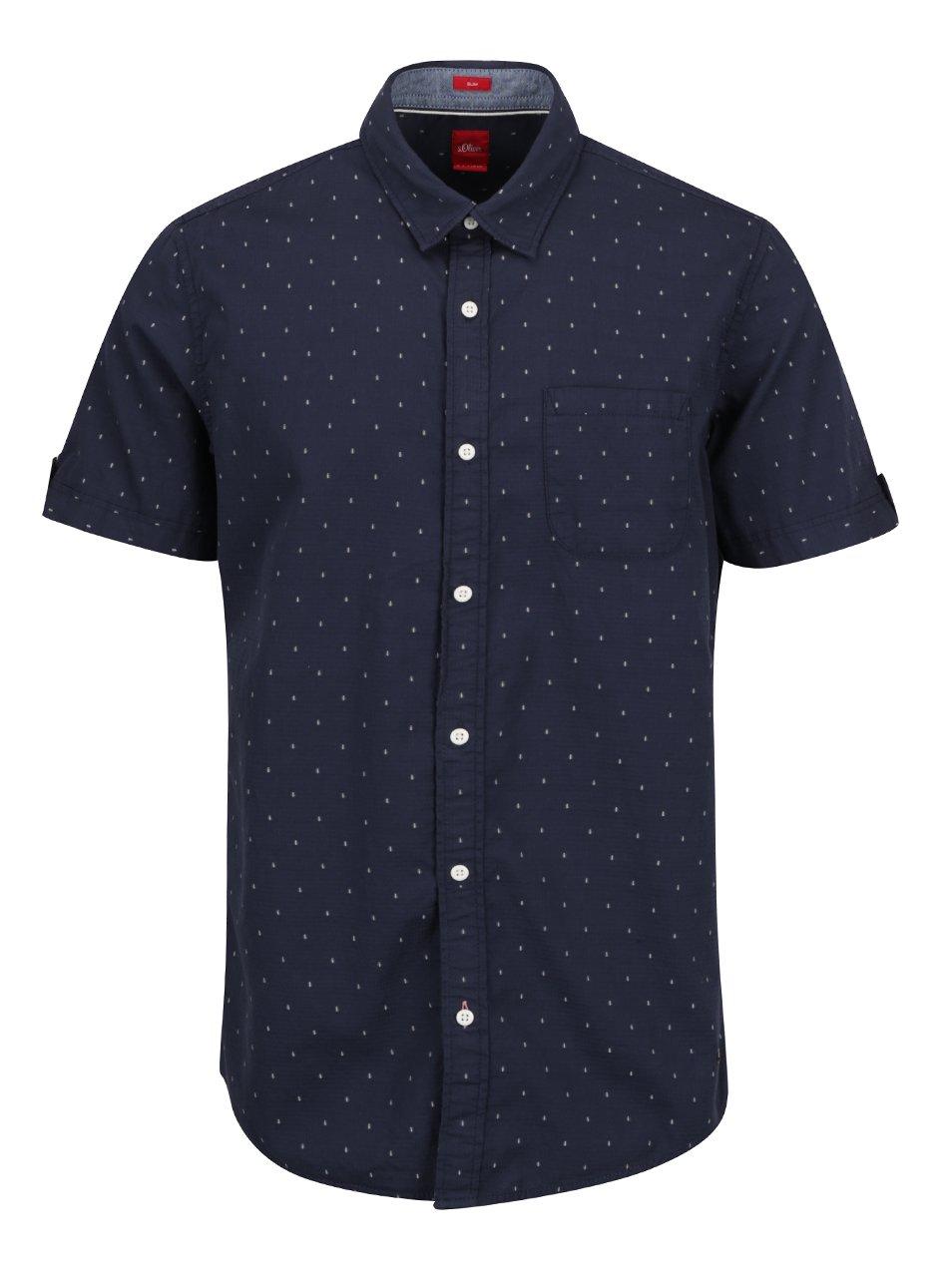 Tmavě modrá pánská slim fit košile s jemným vzorem s.Oliver