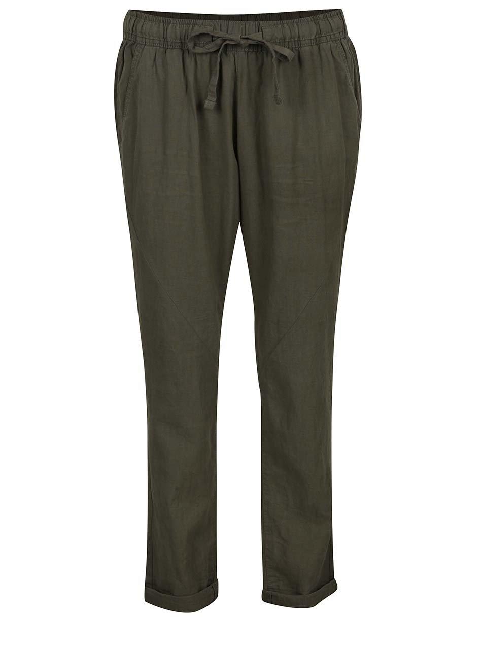 Kaki dámske voľné ľanové nohavice s pružným pásom QS by s.Oliver
