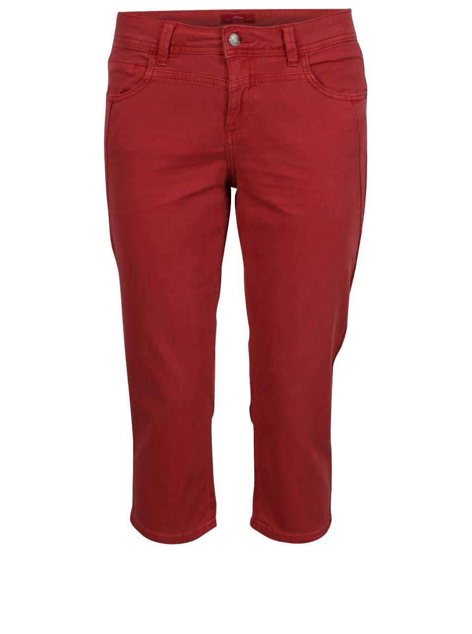 Červené dámské capri džíny s.Oliver