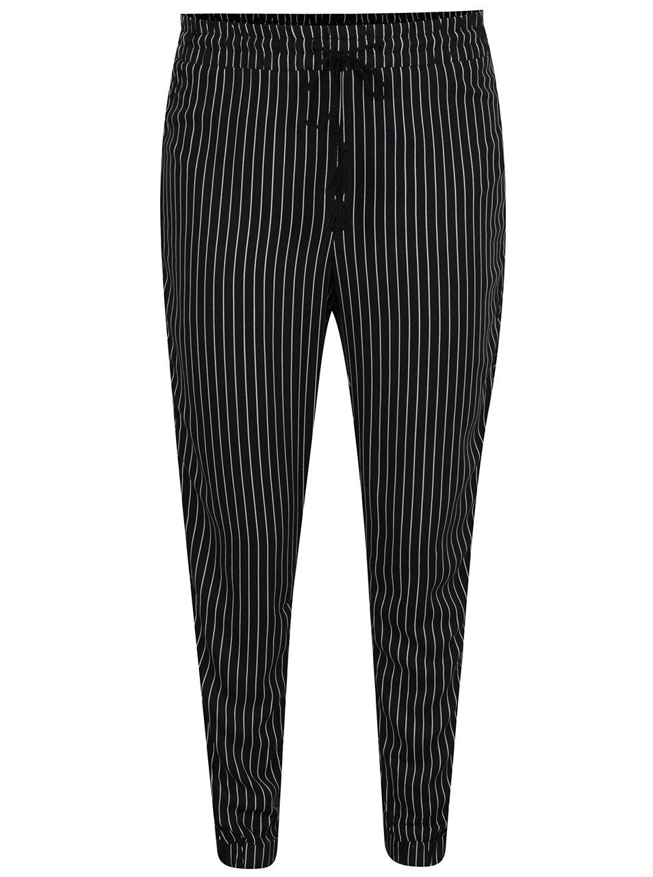 Černé pruhované volné kalhoty TALLY WEiJL