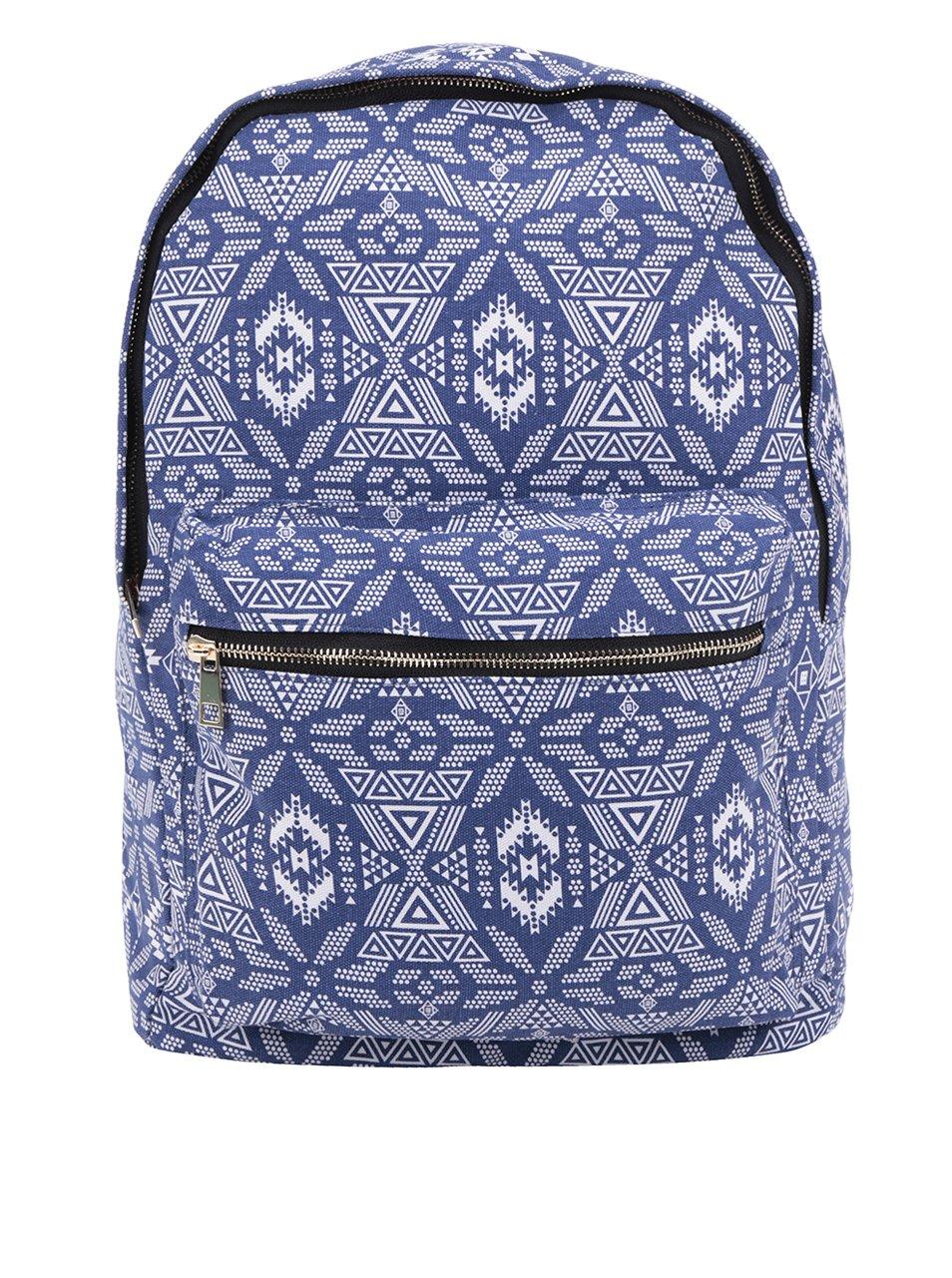 Bílo-modrý dámský vzorovaný plátěný batoh ZOOT