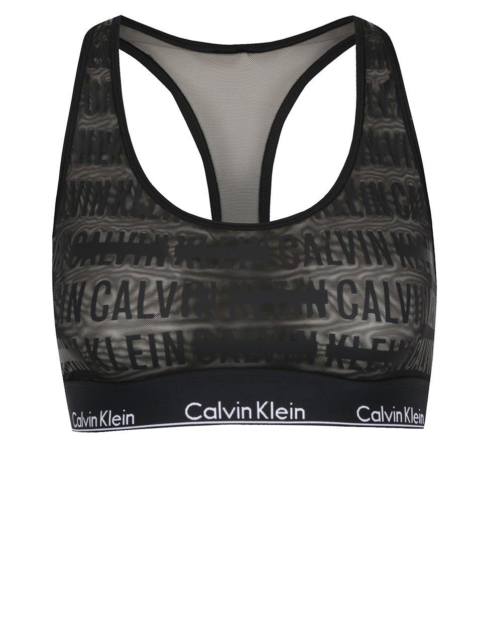 Černá průsvitná podprsenka s potiskem Calvin Klein