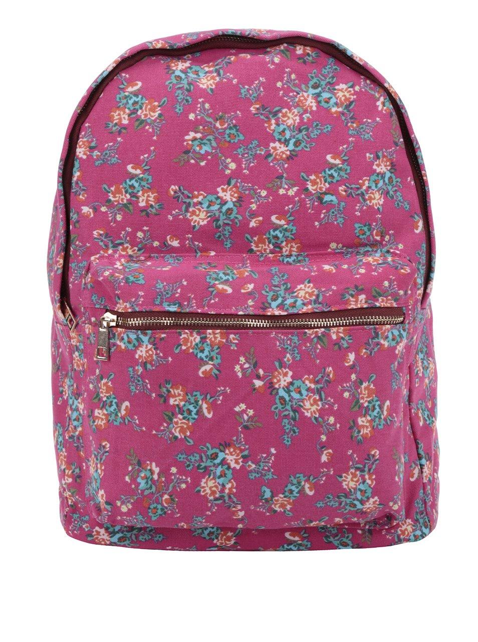 Růžový dámský květovaný plátěný batoh ZOOT