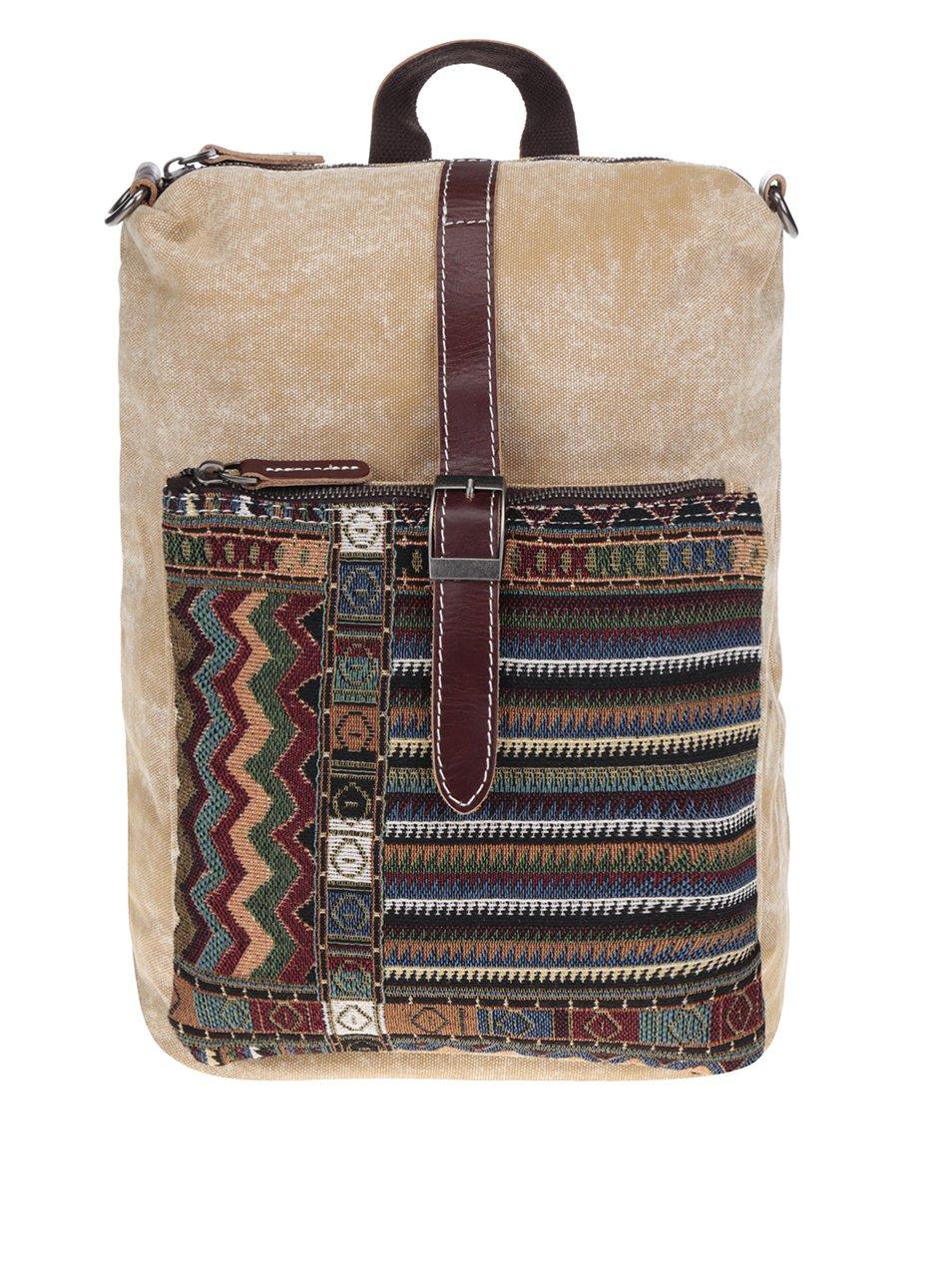 Béžový dámský batoh se vzorovanou kapsou Urban Bag