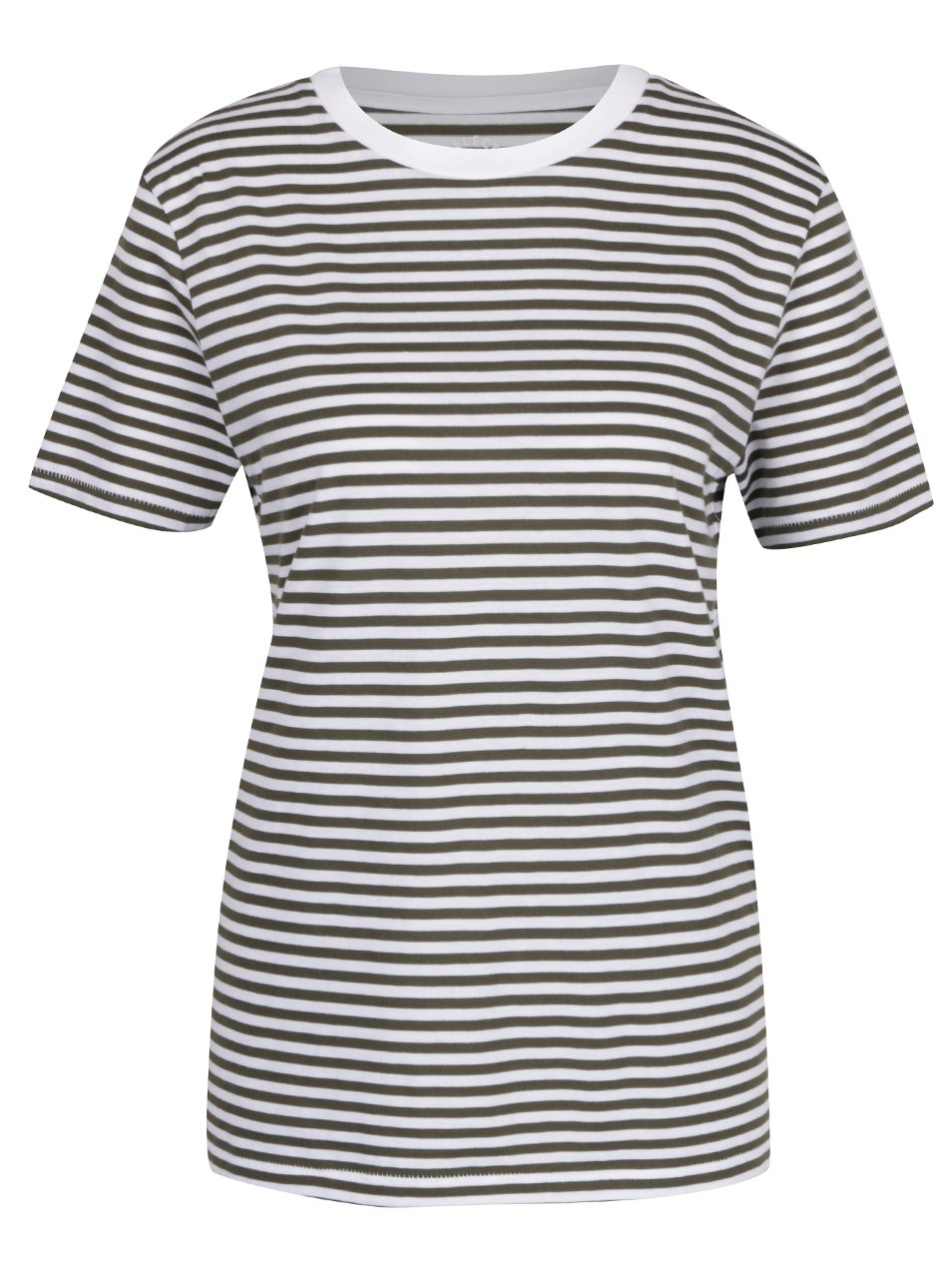 ae8a18368e58 Krémovo-zelené pruhované basic tričko Selected Femme MyPerfect
