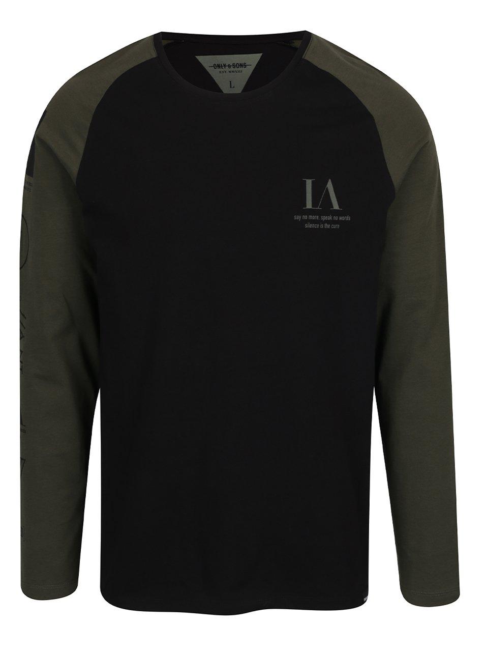Zeleno-černé triko s dlouhým rukávem Only & Sons Lance