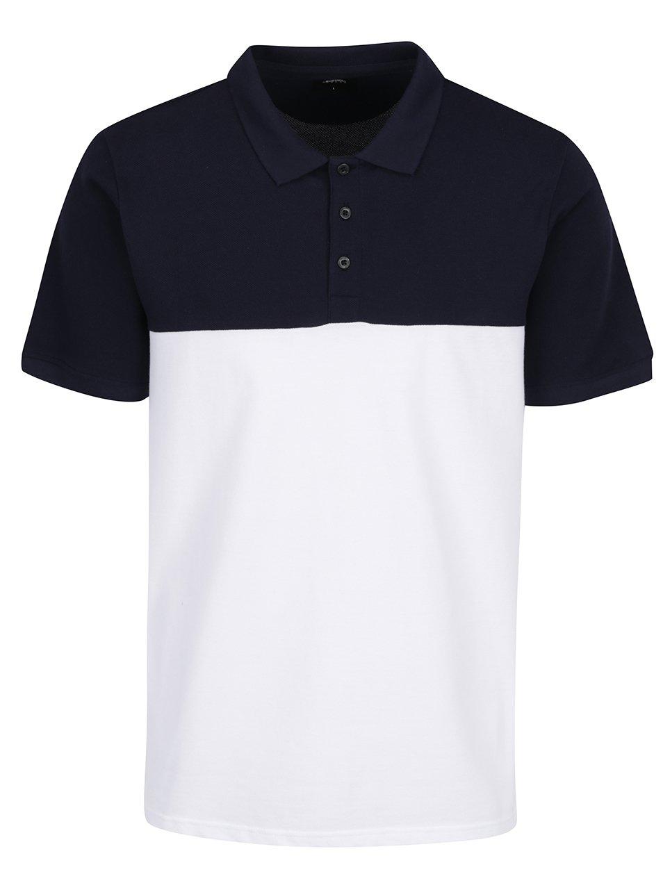 Modro-bílé polo triko Burton Menswear London
