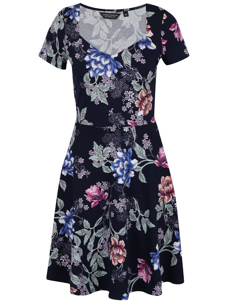 Tmavě modré květované elastické šaty Dorothy Perkins