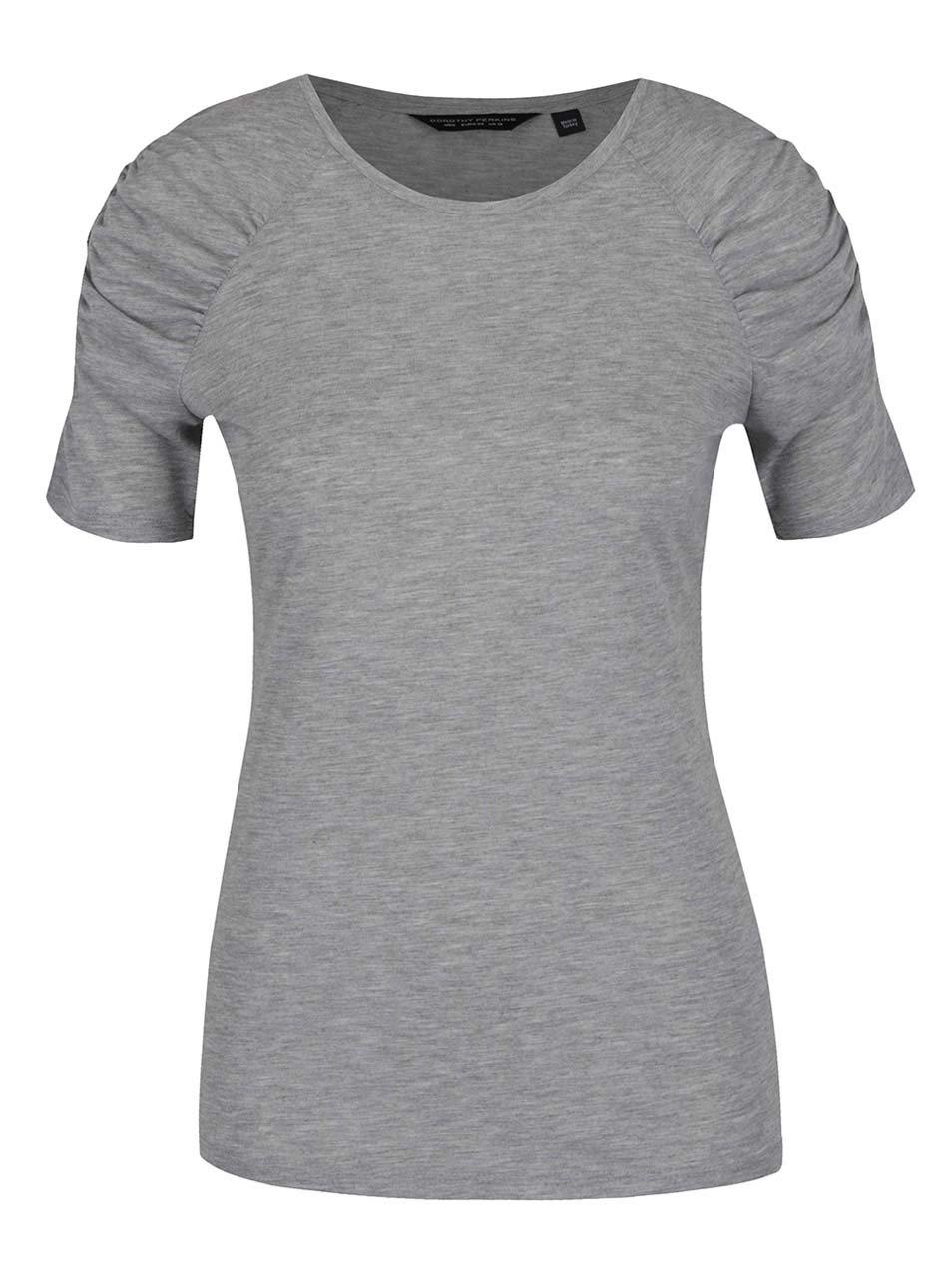Šedé tričko s řasením na rukávech Dorothy Perkins