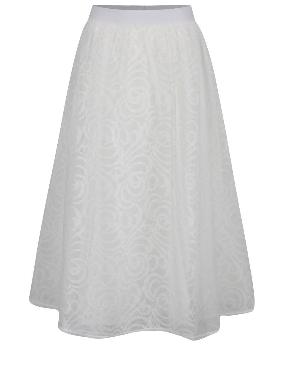 Krémová tylová midi sukně s pružným pasem Dorothy Perkins