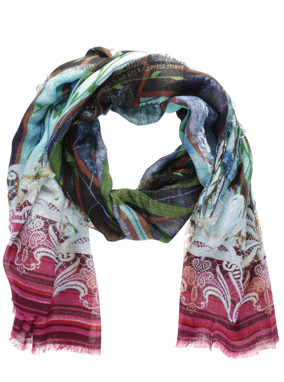 Růžovo-zelený vzorovaný šátek Desigual Sweet Forest