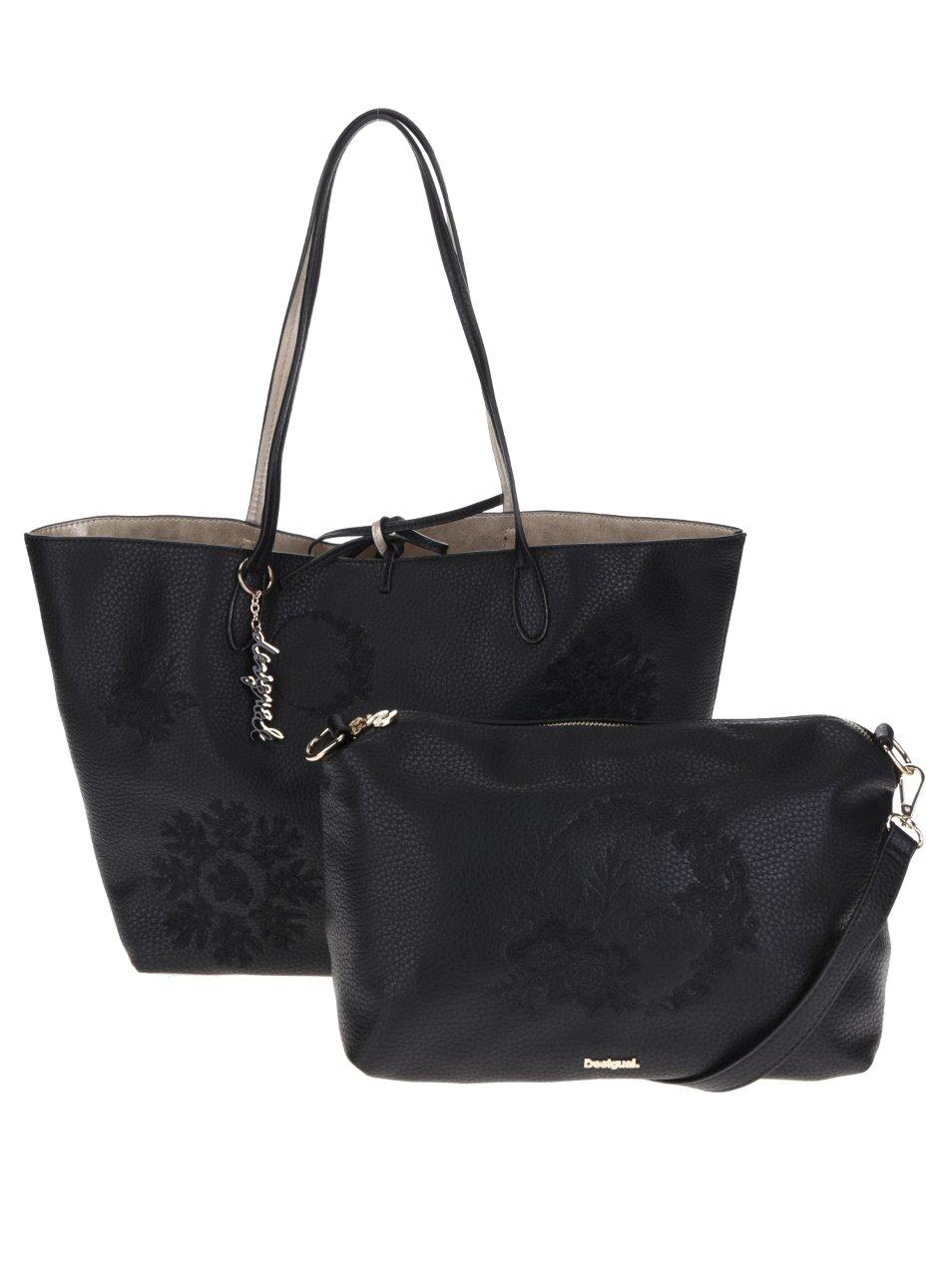 Černý oboustranný shopper s crossbody kabelkou 3v1 Desigual Capri Alice