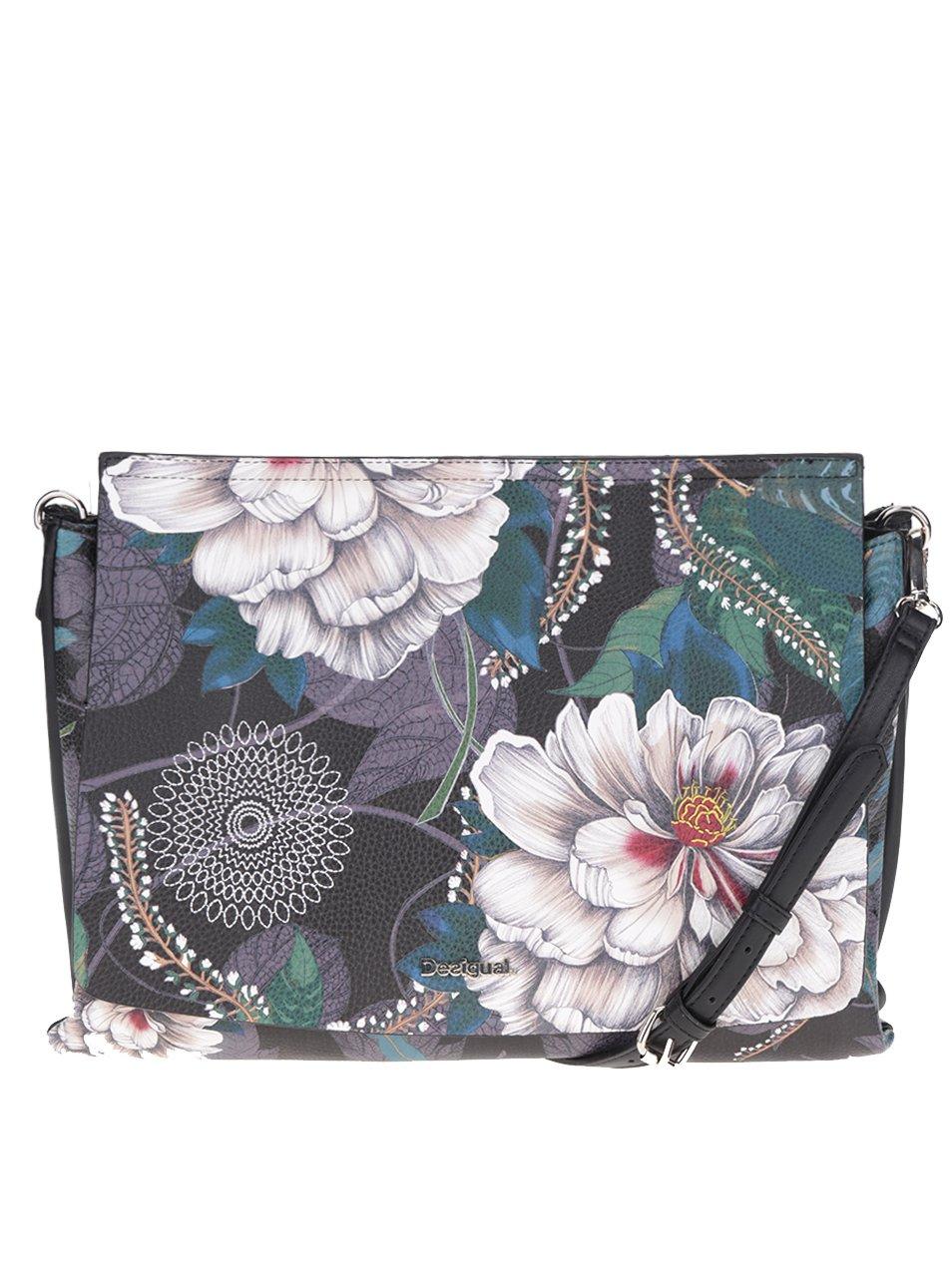 Černo-krémová květovaná oboustranná kabelka Desigual Amberes Maxi Troy