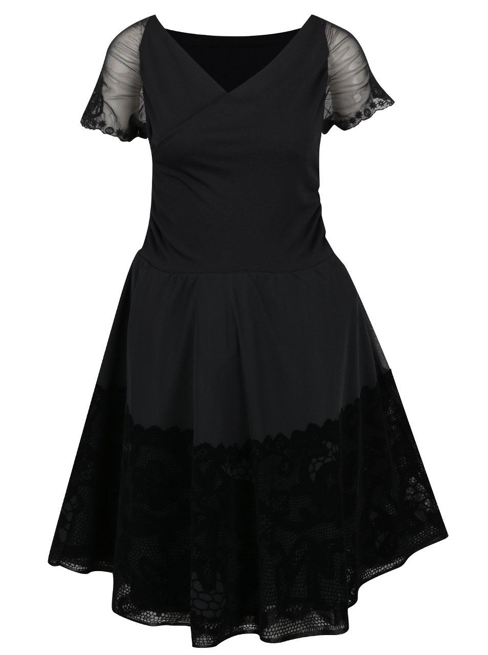 Čierne šaty s prekladaným výstrihom a čipkovanými detailmi Desigual Betty