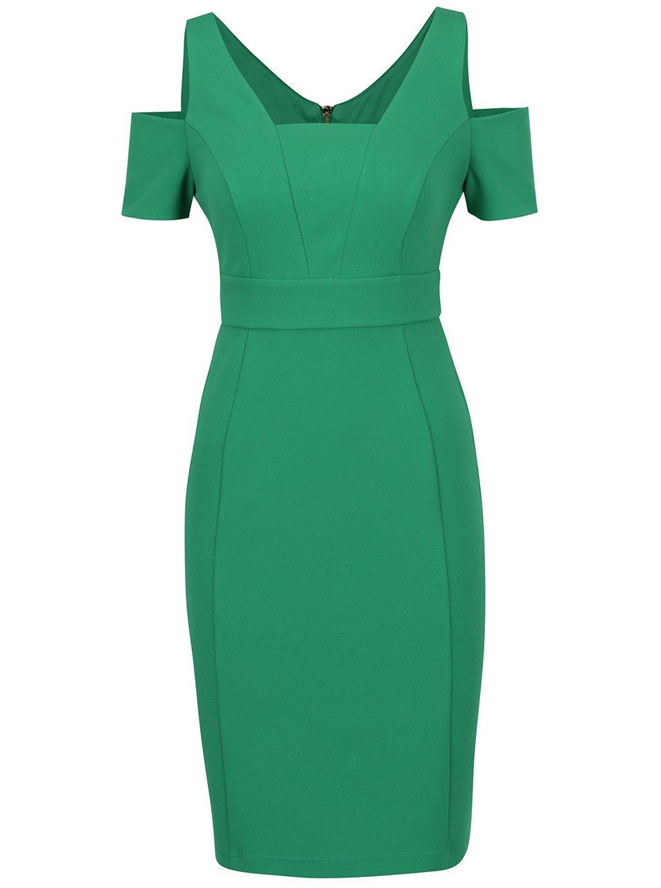 Zelené šaty s průstřihy na ramenou Dorothy Perkins Petite