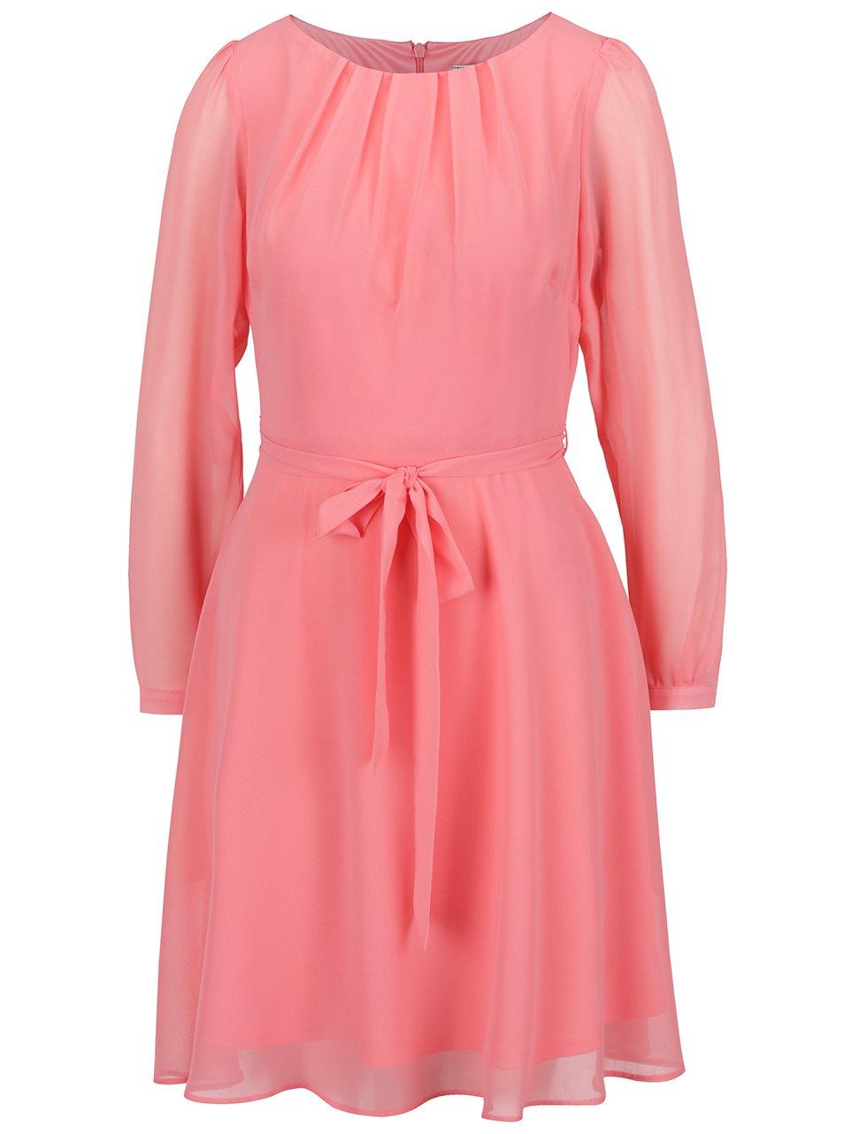 Růžové šaty s páskem a dlouhým rukávem Billie & Blossom