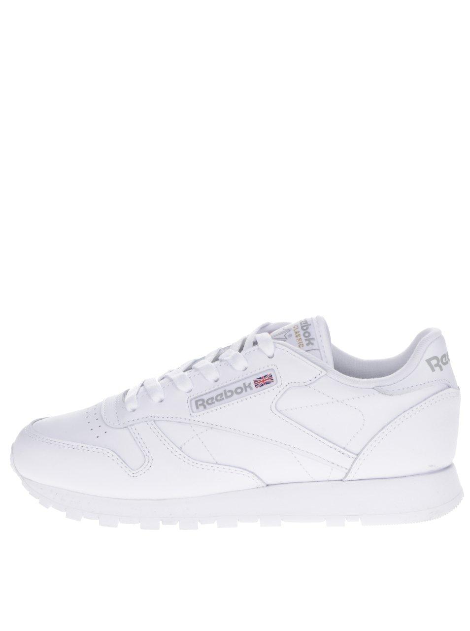 Biele dámske kožené tenisky s tvarovanou podrážkou Reebok a78ca2cb45