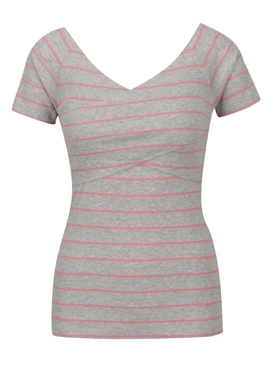 Růžovo-šedé pruhované tričko s krátkým rukávem ONLY Claudia