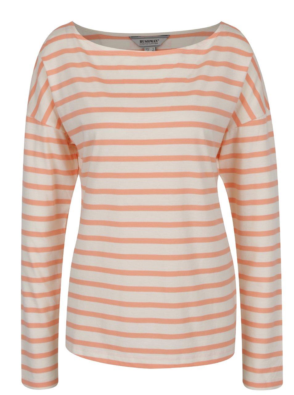 Oranžovo-krémové dámské pruhované tričko s lodičkovým výstřihem BUSHMAN Sailora