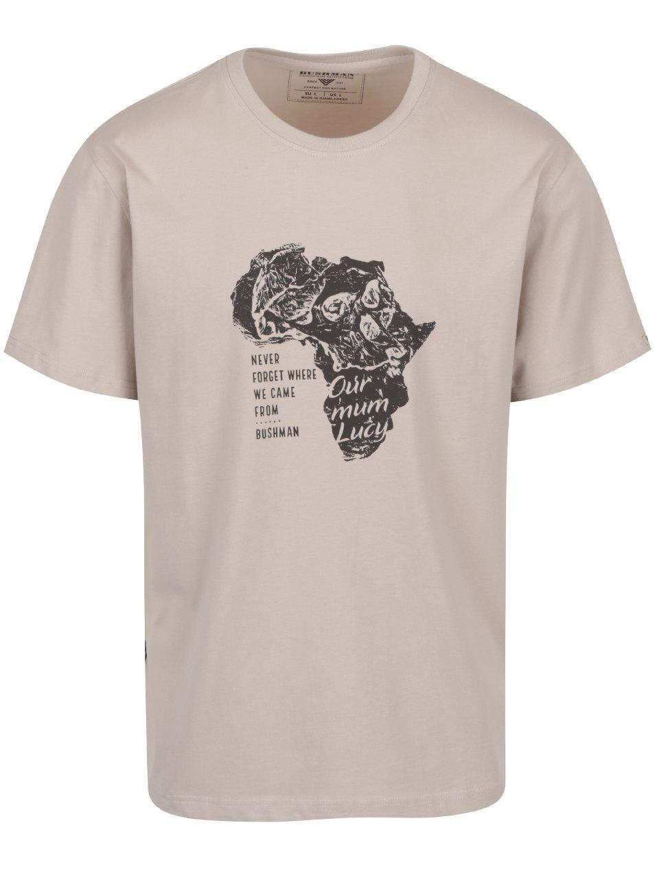 Béžové pánské triko s potiskem BUSHMAN Goliad