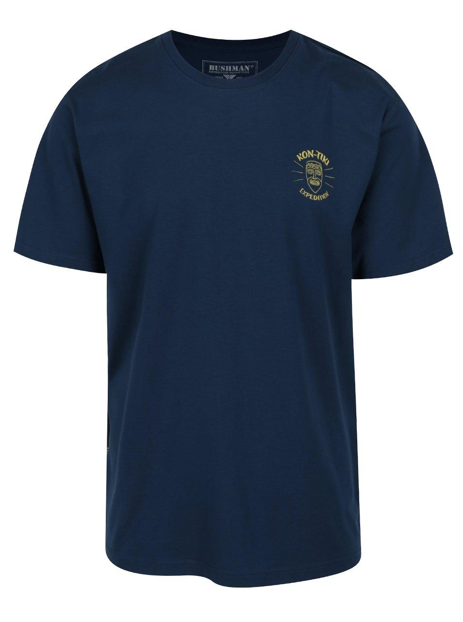 Tmavě modré pánské triko s potiskem BUSHMAN Axis