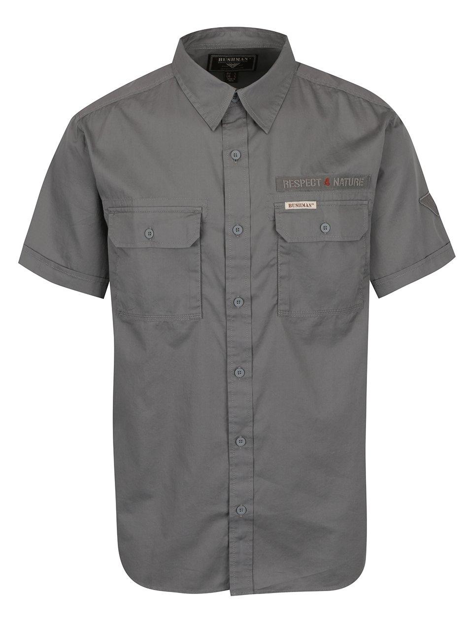 Tmavě šedá pánská košile s krátkým rukávem BUSHMAN Grange II.