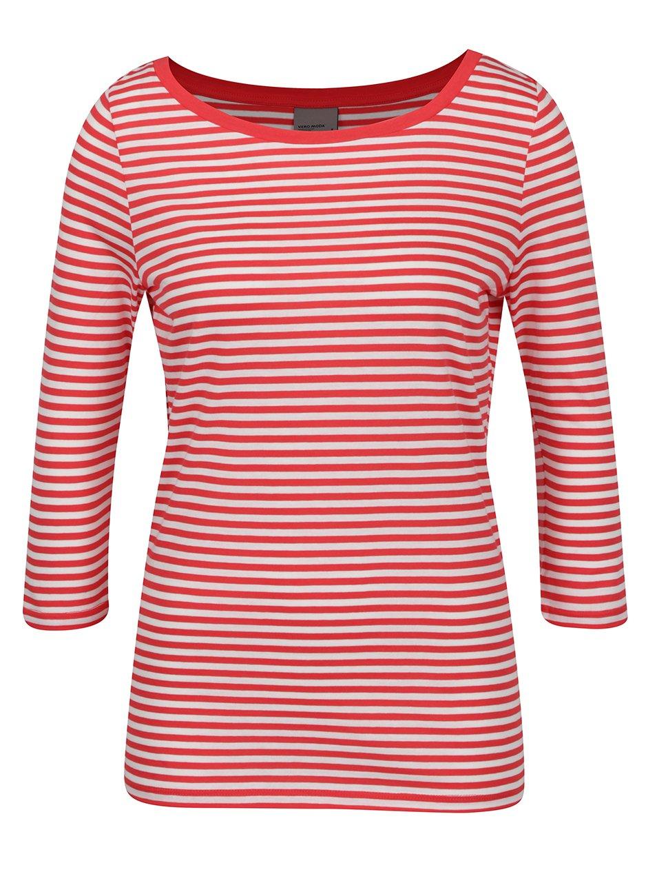 Krémovo-červené pruhované tričko s 3/4 rukávem VERO MODA Marley