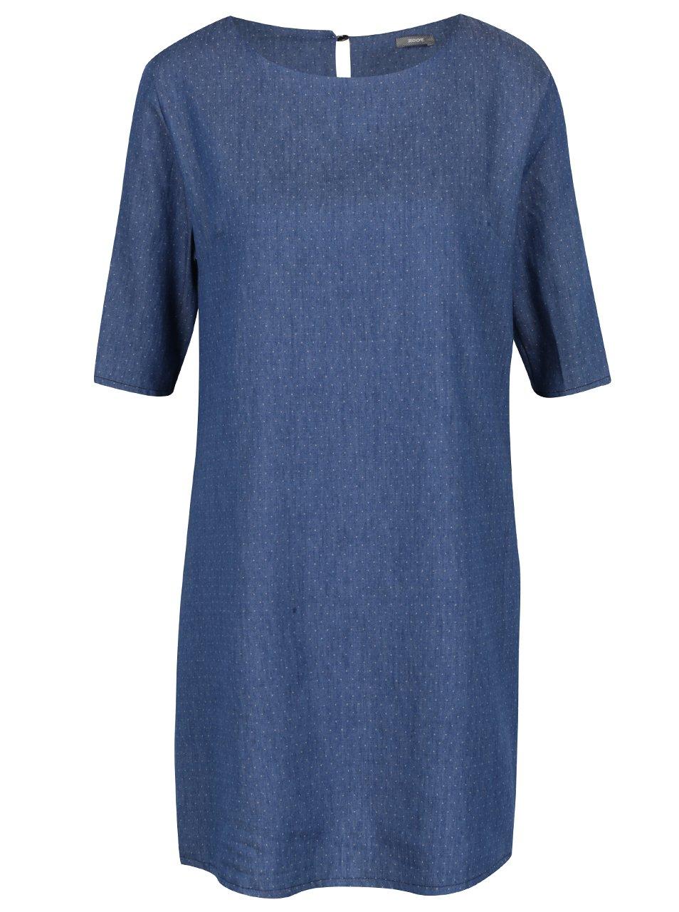 4521cbb487b8 Tmavě modré puntíkované džínové šaty ZOOT - Akční cena