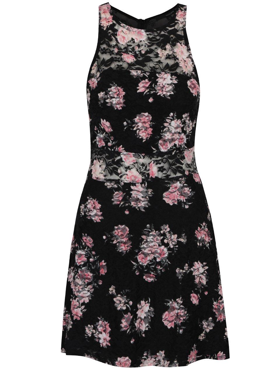 Černé šaty s květinovým potiskem TALLY WEiJL