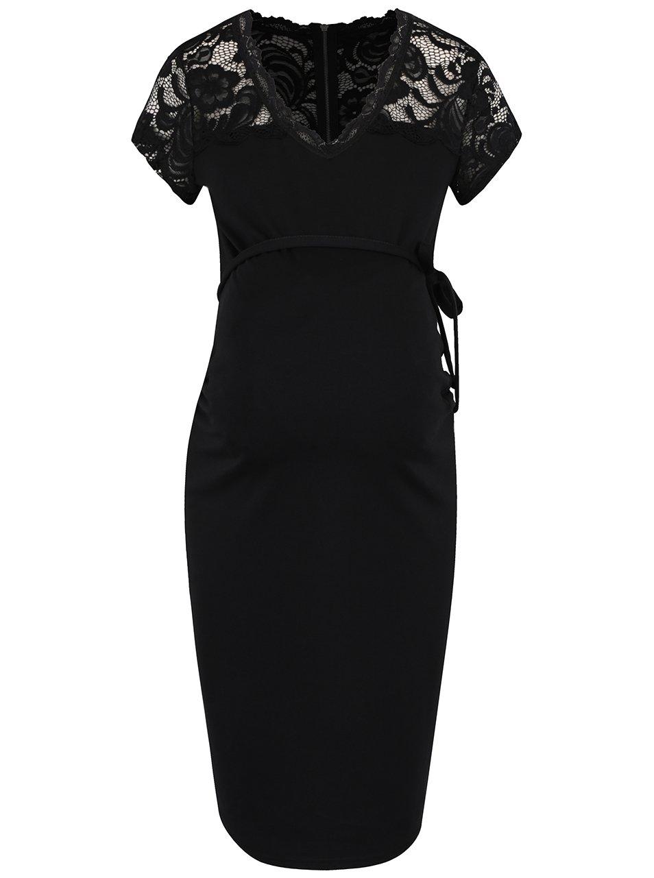 Černé těhotenské šaty s krajkovým topem Mama.licious Blackie