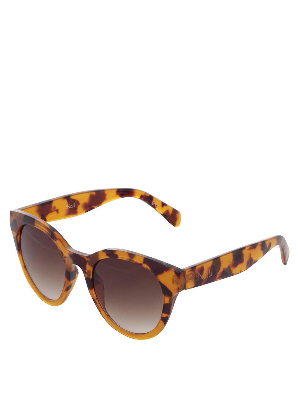 Hnědé dámské vzorované sluneční brýle Nalí
