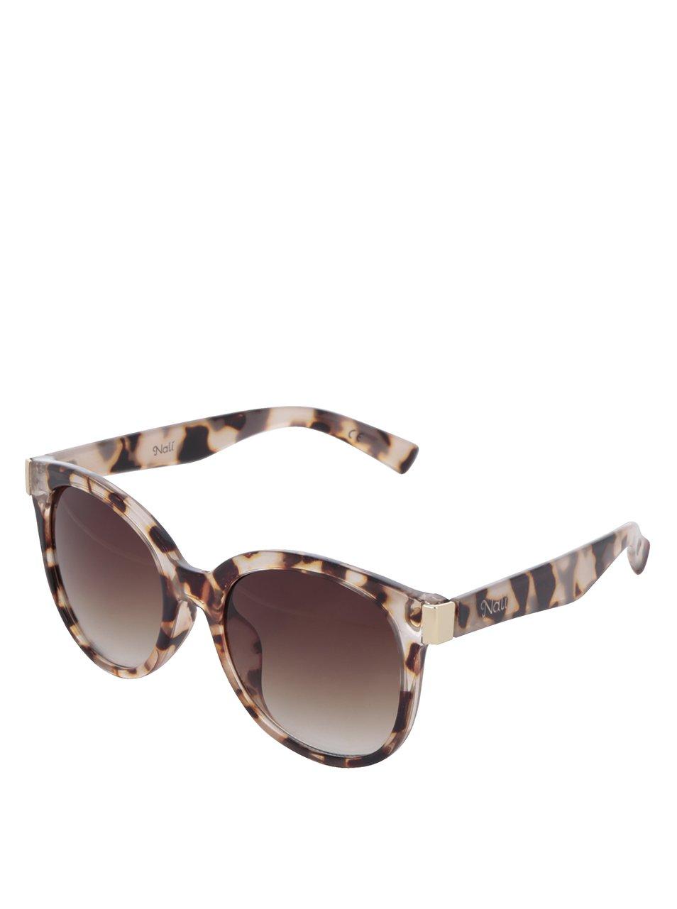 Transparentní dámské vzorované sluneční brýle s hnědými skly Nalí