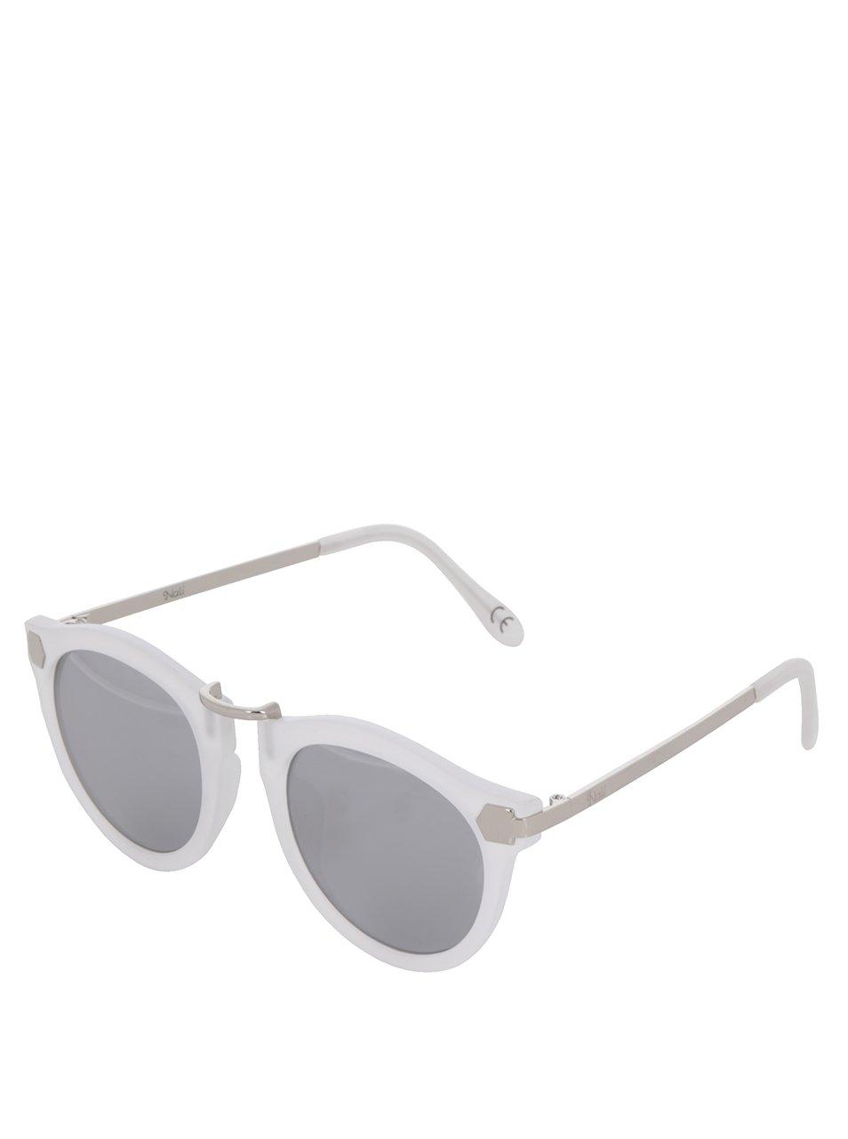 Bílé dámské sluneční brýle s detaily ve stříbrné barvě Nalí