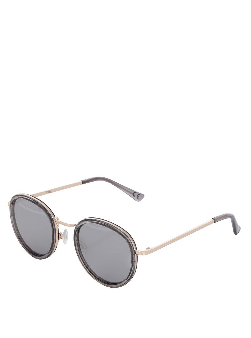 Šedé dámské oválné sluneční brýle s detaily ve zlaté barvě Nalí