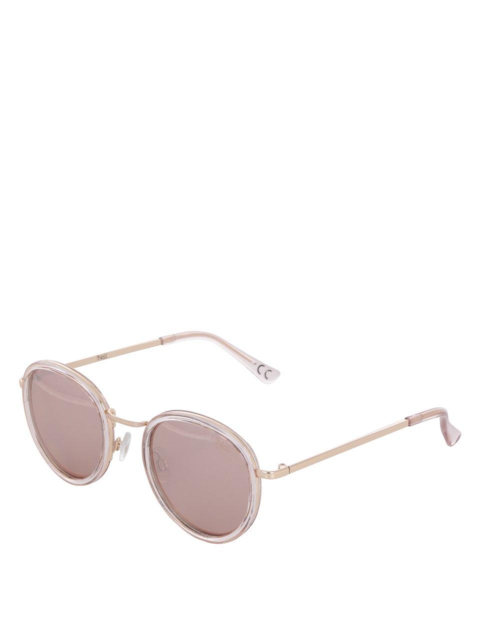 Růžové dámské sluneční brýle s detaily ve zlaté barvě Nalí