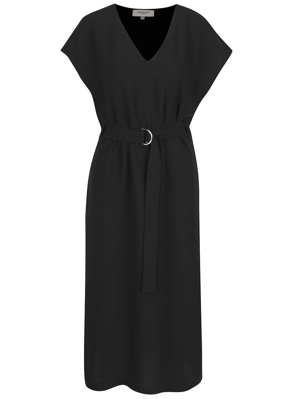 Černé midišaty s páskem Selected Femme Newa