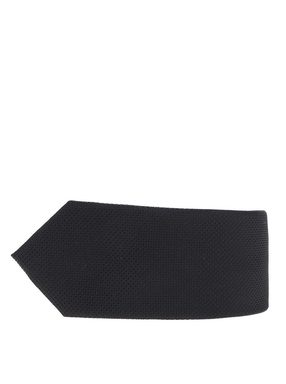 Černá hedvábná kravata s jemným vzorem Jack & Jones Premium Colombia