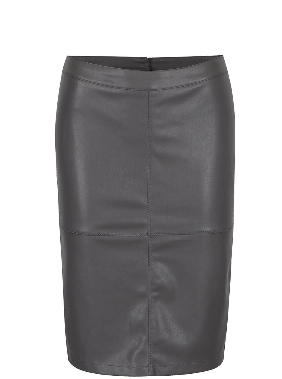 9c70626f05 Sivá koženková puzdrová sukňa s rozparkom VILA Pen New